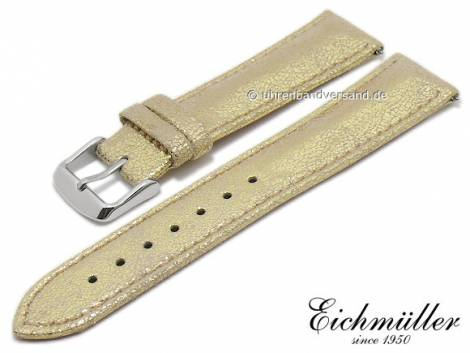 Watch strap 16mm golden metallic leather with easy change spring bars stitched by BandOh (width of buckle 14 mm) - Bild vergrößern