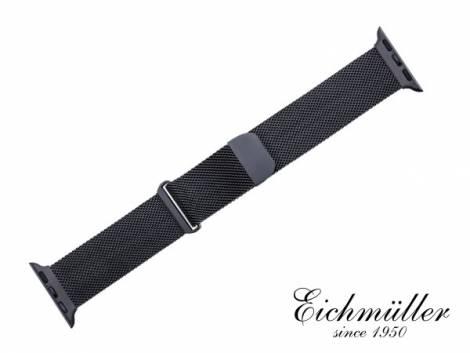 Watch strap 44mm black mesh fine structure magnetic clasp suitable for APPLE-smart watches from EICHMUELLER - Bild vergrößern