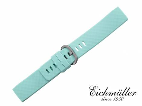 Watch strap turquois silicone with light pattern suitable for FITBIT Charge  3 Tracker from EICHMUELLER
