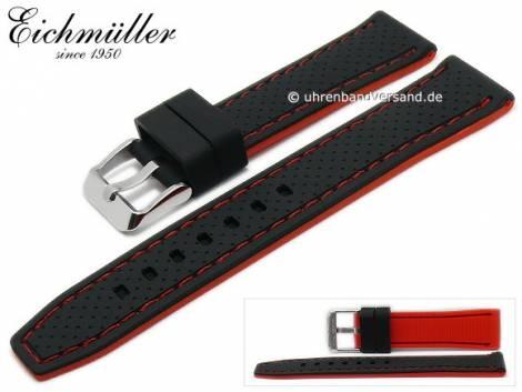 Watch strap 20mm black silicone racing design red stitching by EICHMÜLLER (width of buckle 18 mm) - Bild vergrößern