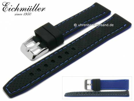Watch strap 24mm black silicone racing design blue stitching by EICHMÜLLER (width of buckle 22 mm) - Bild vergrößern
