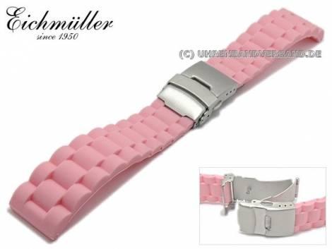 Watch strap 18mm pink silicone metal strap look with clasp by EICHMÜLLER - Bild vergrößern