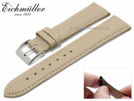Watch strap 18mm clip lug attachment beige leather smooth stitched by EICHMÜLLER (width of buckle 16 mm) - Bild vergrößern