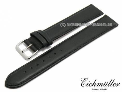 Watch strap XL 18mm black leather smooth stitched by EICHMÜLLER (width of buckle 16 mm) - Bild vergrößern