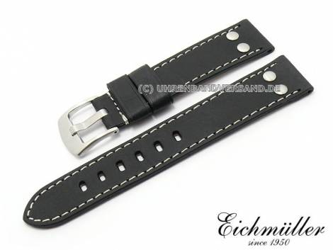 Watch strap 18mm black calf`s leather vintage look by EICHMUELLER (width of buckle 18 mm) - Bild vergrößern