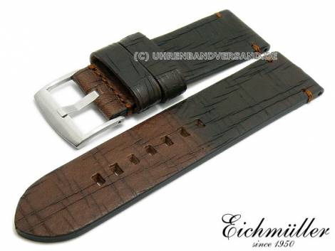Watch strap 26mm dark brown/sepia brown leather vintage look stitched by EICHMÜLLER (width of buckle 26 mm) - Bild vergrößern
