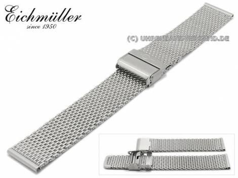 Watch strap 16mm stainless steel mesh polished medium structure security clasp by BandOh - Bild vergrößern