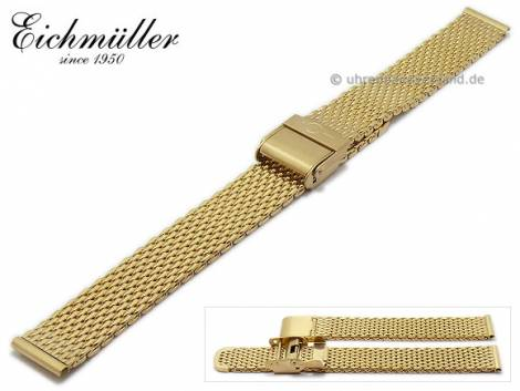 Watch strap 14mm golden stainless steel mesh polished medium structure security clasp by BandOh - Bild vergrößern