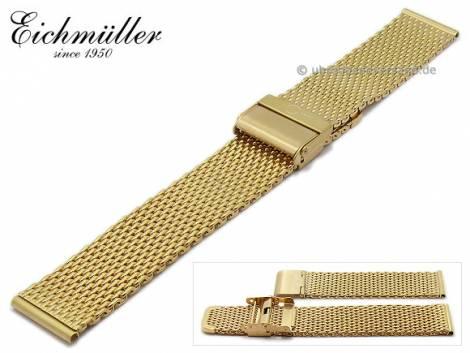 Watch strap 16mm golden stainless steel mesh polished medium structure security clasp by BandOh - Bild vergrößern