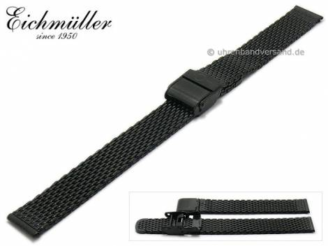 Watch strap 20mm black stainless steel mesh polished medium structure security clasp by BandOh - Bild vergrößern