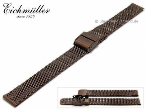 Watch strap 14mm dark brown stainless steel mesh polished medium structure security clasp by BandOh - Bild vergrößern