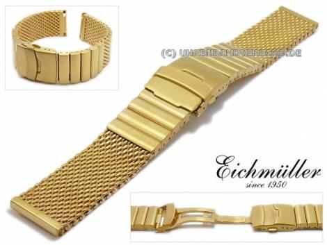 Watch strap 24mm golden mesh brushed robust structure with clasp by EICHMÜLLER - Bild vergrößern