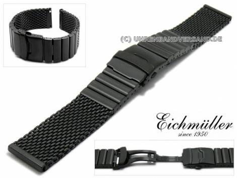 Watch strap 20mm black mesh brushed robust structure with clasp by EICHMÜLLER - Bild vergrößern