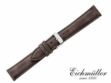 Watch strap 16mm dark brown VEGAN vintage look by EICHMÜLLER (width of buckle 14 mm) - Bild vergrößern
