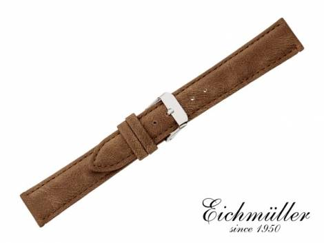 Watch strap 22mm brown VEGAN vintage look by EICHMÜLLER (width of buckle 20 mm) - Bild vergrößern