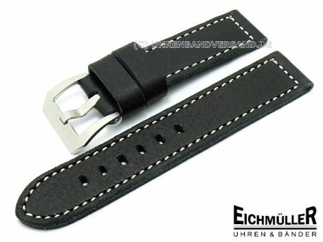Watch band  22mm -Pan Type- black Grain by Eichmueller (width of buckle 22 mm) - Bild vergrößern