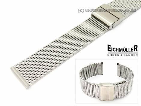 Watch band 20mm stainless steel mesh robust matt push buckle by EICHMÜLLER - Bild vergrößern