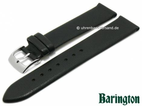 Watch strap -Cordero- 20mm black lamb nappa leather slightly grained matt by BARINGTON (width of buckle 18 mm) - Bild vergrößern