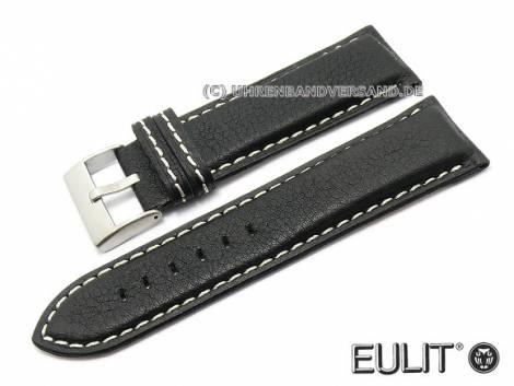 Watch strap XL -Imola- 30mm black leather grained by EULIT (width of buckle 28 mm) - Bild vergrößern