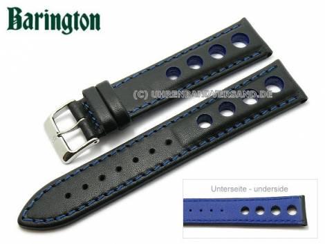 Watch strap -Racing- 20mm black leather blue stitching by Barington (width of buckle 18 mm) - Bild vergrößern