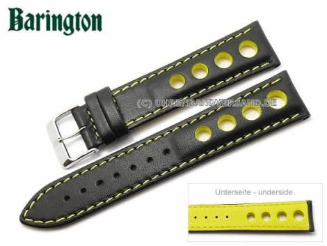 Watch strap -Racing- 18mm black leather yellow stitching by Barington (width of buckle 16 mm) - Bild vergrößern