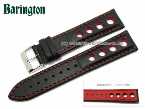 Watch strap -Racing- 20mm black leather red stitching by Barington (width of buckle 18 mm) - Bild vergrößern
