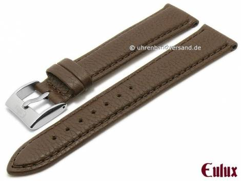 Watch strap -Olive- 18mm dark brown olive leather vegetable tanned stitched by EULUX (width of buckle 16 mm) - Bild vergrößern