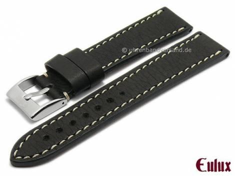 Watch strap -Yak- 24mm black genuine yak leather grained light stitching by EULUX (width of buckle 20 mm) - Bild vergrößern