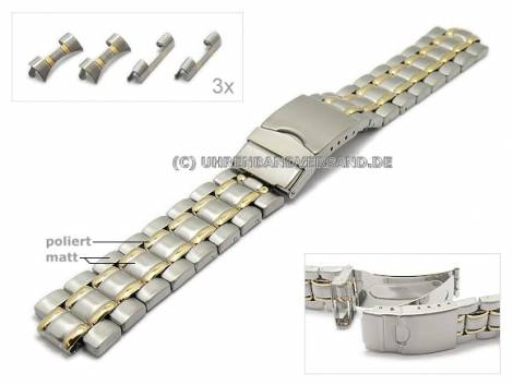 Watch strap 18-22mm stainless steel dual tone multiple ends with security clasp by EULIT - Bild vergrößern