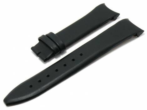 Watch strap original MAURICE LACROIX 18mm black leather smooth matt with curved ends - Bild vergrößern
