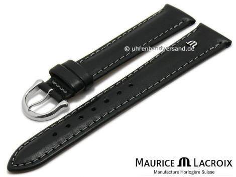 Watch strap original MAURICE LACROIX 19mm black leather smooth matt light grey stitching - Bild vergrößern