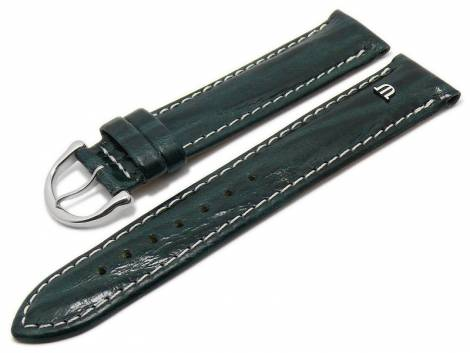 Watch strap original MAURICE LACROIX 20mm dark green leather smooth light stitching - Bild vergrößern