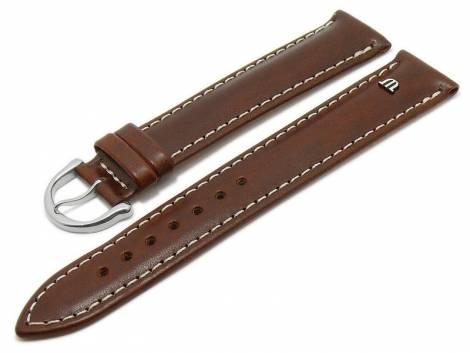 Watch strap original MAURICE LACROIX XL 20mm brown leather smooth light stitching - Bild vergrößern