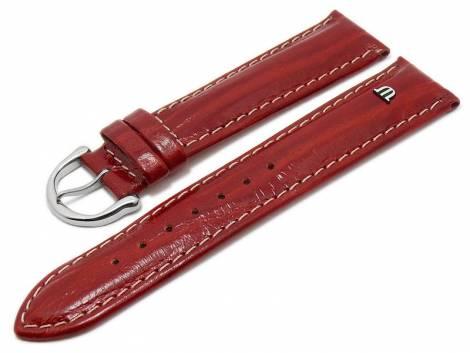 Watch strap original MAURICE LACROIX 20mm red leather smooth light stitching - Bild vergrößern