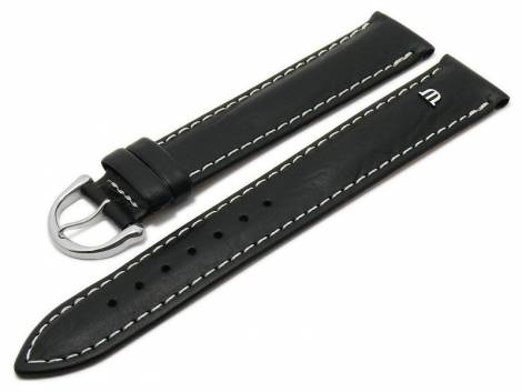Watch strap original MAURICE LACROIX XL 20mm black leather smooth light stitching - Bild vergrößern