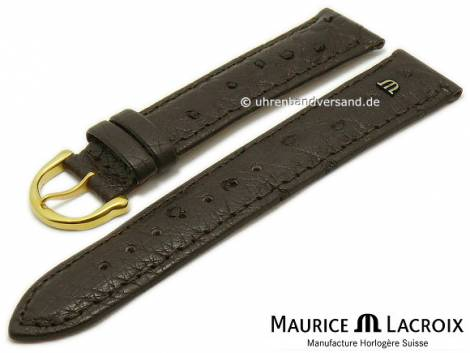 Watch strap original MAURICE LACROIX 20mm dark brown ostrich leather grained stitched - Bild vergrößern