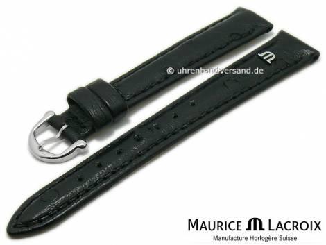 Watch strap original MAURICE LACROIX 13mm black ostrich leather grained light stitching - Bild vergrößern