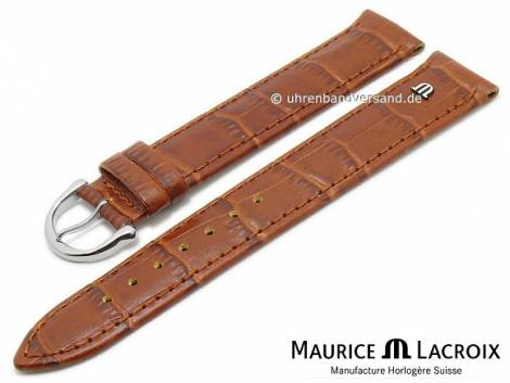 Watch strap original MAURICE LACROIX XL 19mm light brown leather alligator grain stitched - Bild vergrößern