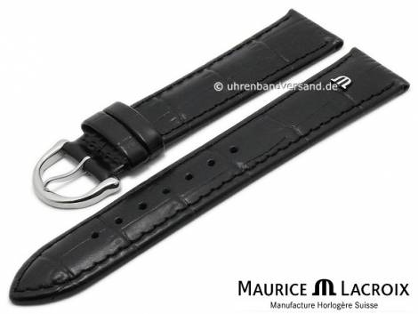 Watch strap original MAURICE LACROIX 17mm black leather alligator grain stitched - Bild vergrößern