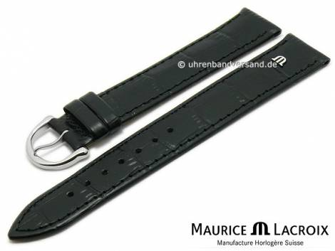 Watch strap original MAURICE LACROIX XL 19mm black leather alligator grain stitched - Bild vergrößern