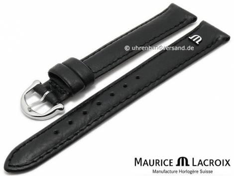 Watch strap original MAURICE LACROIX 14mm black leather slightly grained to smooth stitched - Bild vergrößern