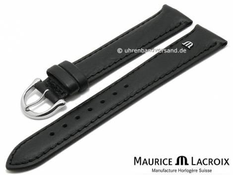 Watch strap original MAURICE LACROIX 17mm black leather slightly grained to smooth stitched - Bild vergrößern