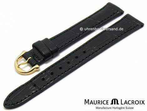 Watch strap original MAURICE LACROIX 14mm black leather alligator grain golden buckle - Bild vergrößern