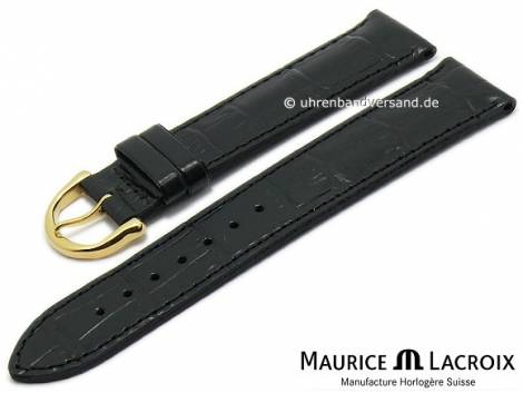 Watch strap original MAURICE LACROIX 16mm black leather alligator grain golden buckle - Bild vergrößern