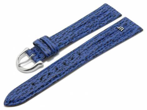 Watch strap original MAURICE LACROIX 20mm blue leather genuine shark stitched double padding - Bild vergrößern