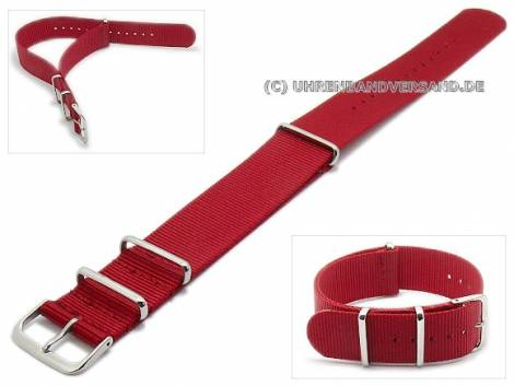 Watch strap 22mm red nylon one piece strap in NATO style - Bild vergrößern