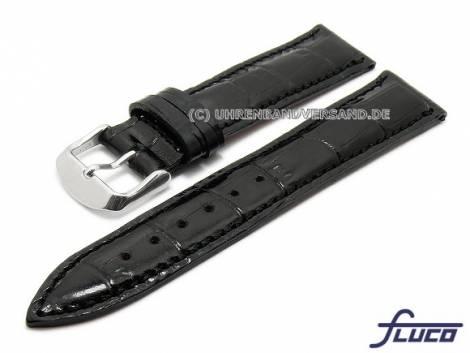 Watch strap -Luxor- 20mm black leather alligator grain stitched by FLUCO (width of buckle 18 mm) - Bild vergrößern