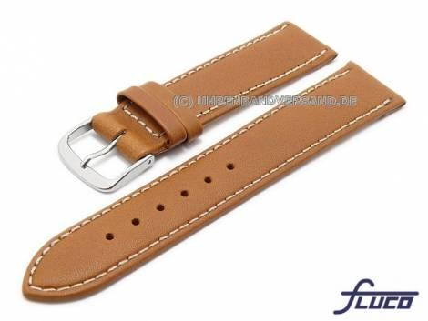 Watch strap XS -Triumpf- 18mm light brown leather light stitching by FLUCO (width of buckle 16 mm) - Bild vergrößern