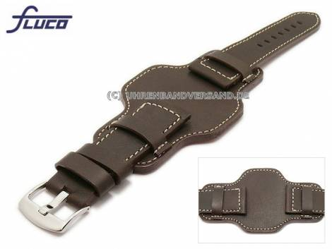 Watch band 26mm dark brown aviator style robust light colored stitching with asymmetric leather pad - Bild vergrößern