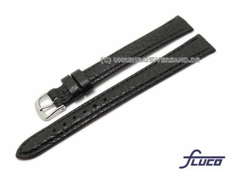 Watch band -Record- XL 10mm black grained by FLUCO (width of buckle 09 mm) - Bild vergrößern